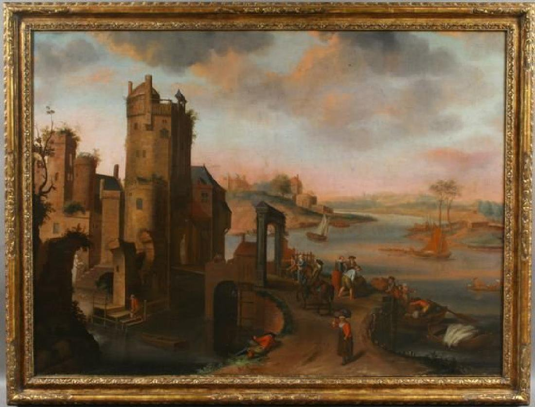 18th C. Dutch, Old Castle by the River, o/c