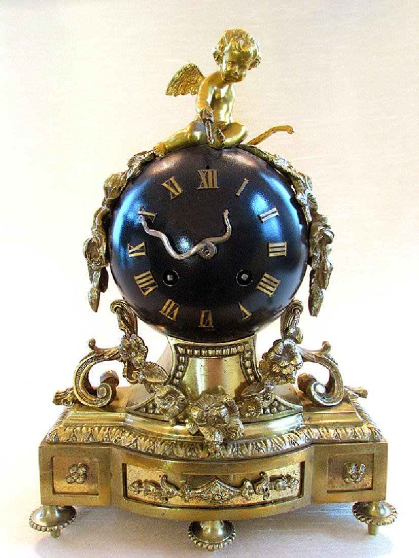 Antique superb 19th C. French bronze Orb Clock