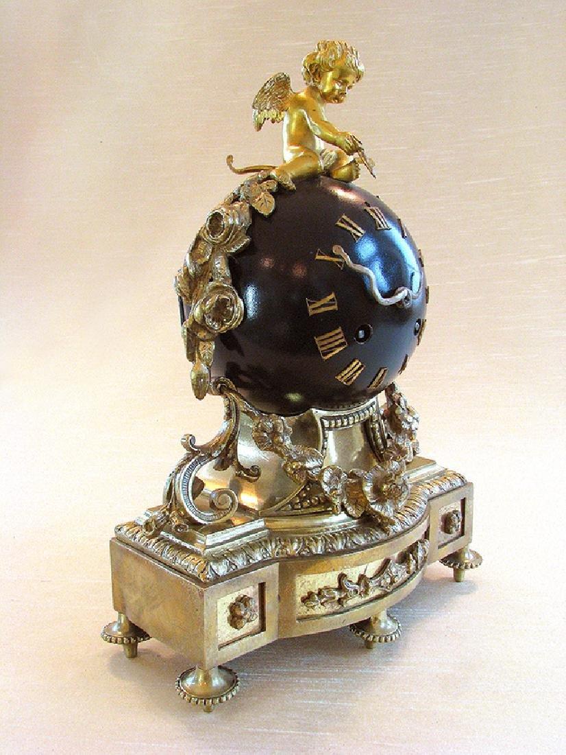 Antique superb 19th C. French bronze Orb Clock - 3
