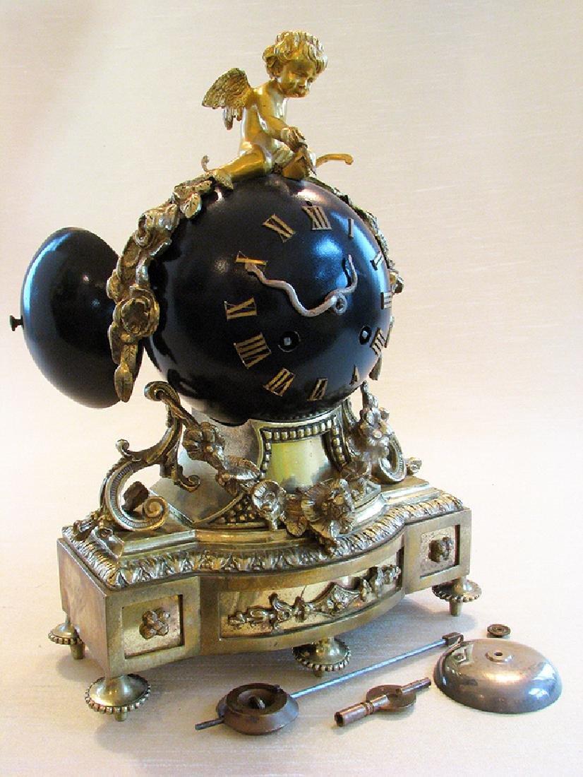 Antique superb 19th C. French bronze Orb Clock - 4