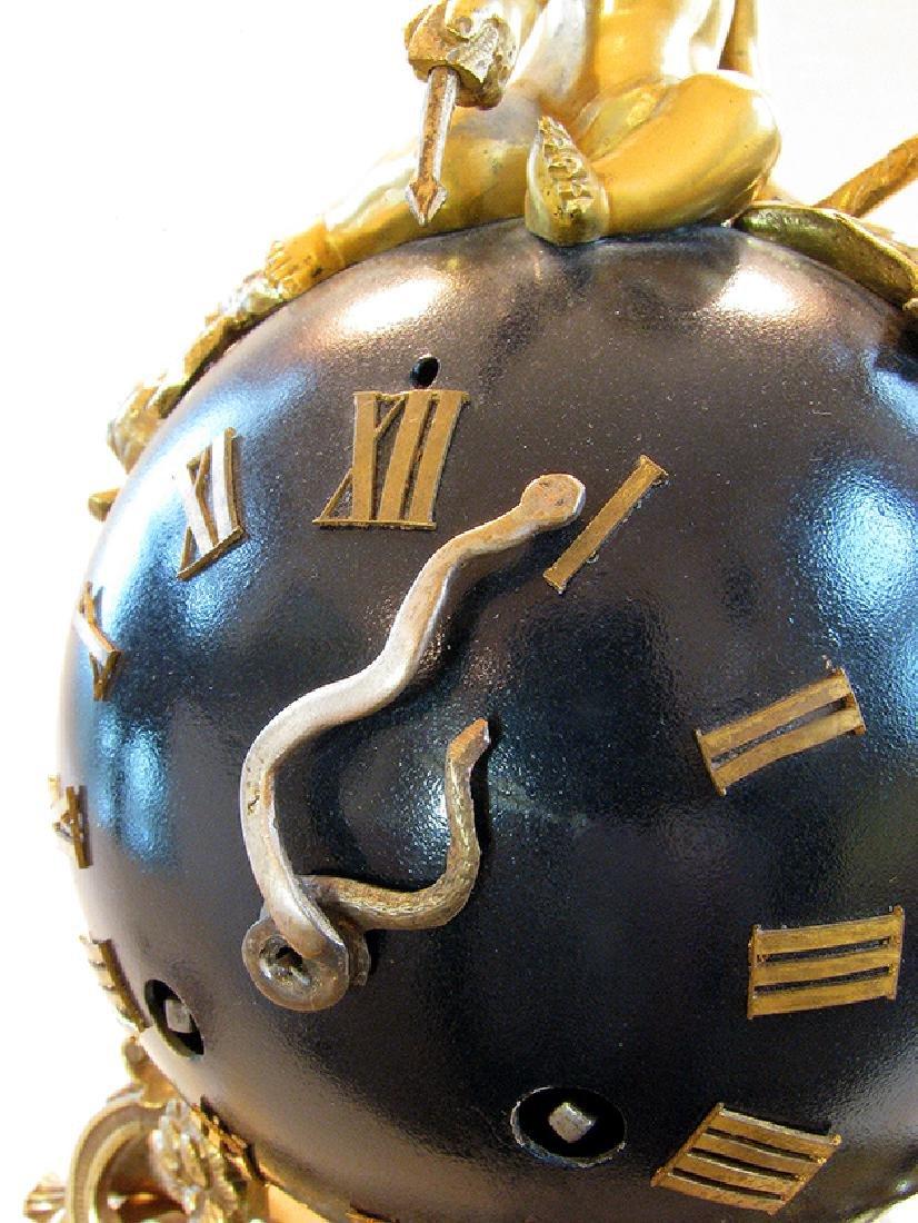 Antique superb 19th C. French bronze Orb Clock - 6
