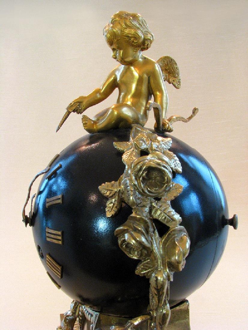 Antique superb 19th C. French bronze Orb Clock - 7