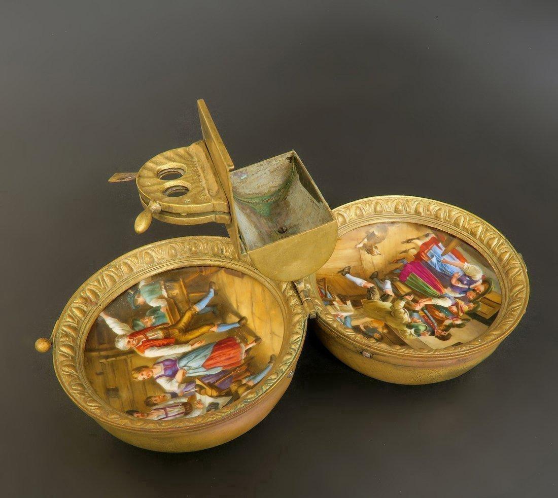 19th C. Hand Painted Enamel Cigar Cutter Austrian - 3