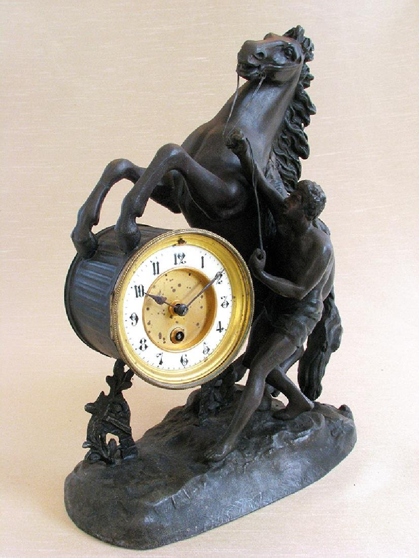 A French Patinated Metal Figural Mantel Clock - 2