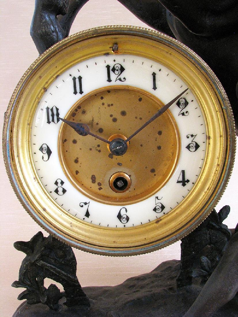 A French Patinated Metal Figural Mantel Clock - 6