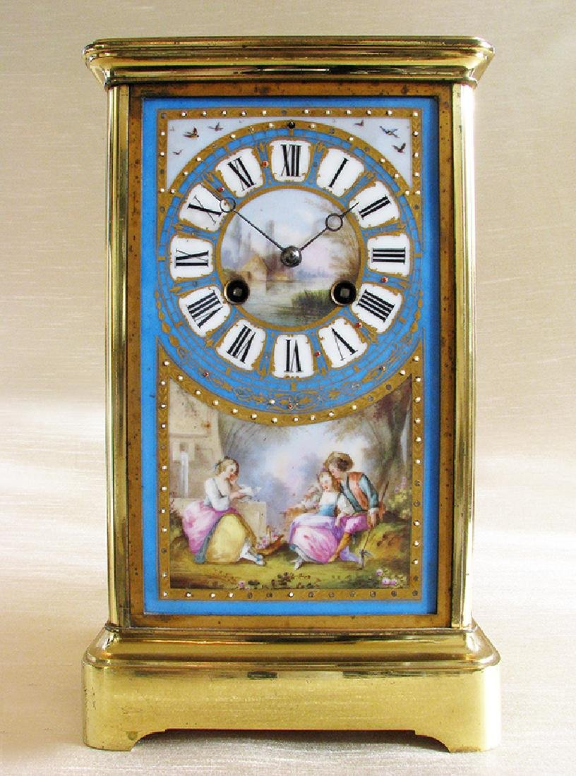 19th C. Brass and Sevres hand painted Porcelain clock - 2