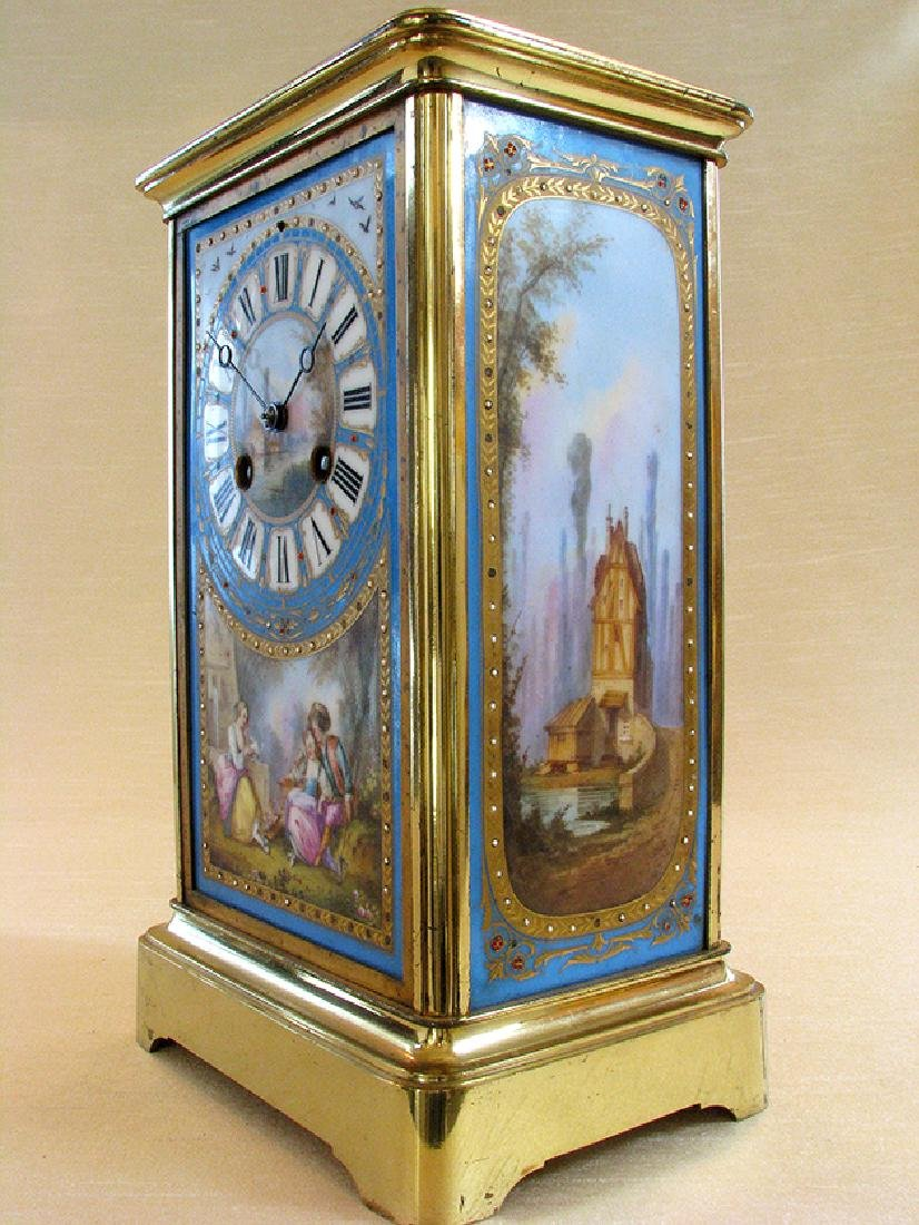 19th C. Brass and Sevres hand painted Porcelain clock - 3