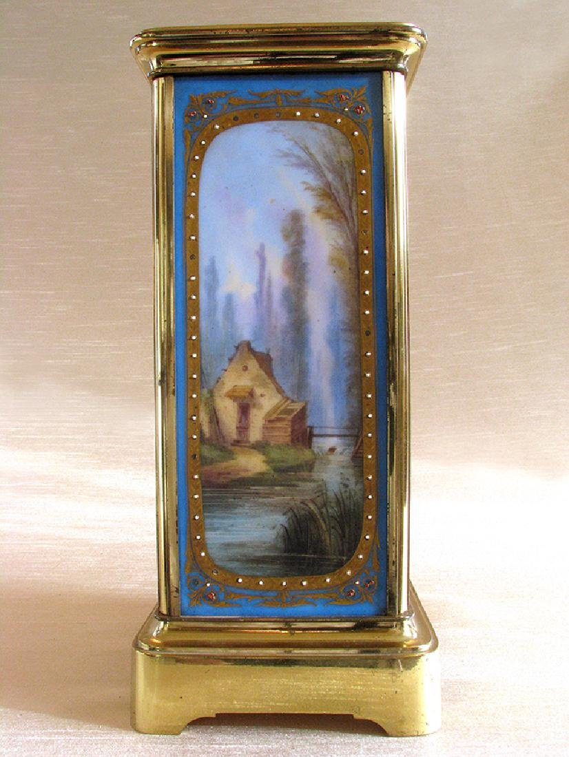 19th C. Brass and Sevres hand painted Porcelain clock - 4