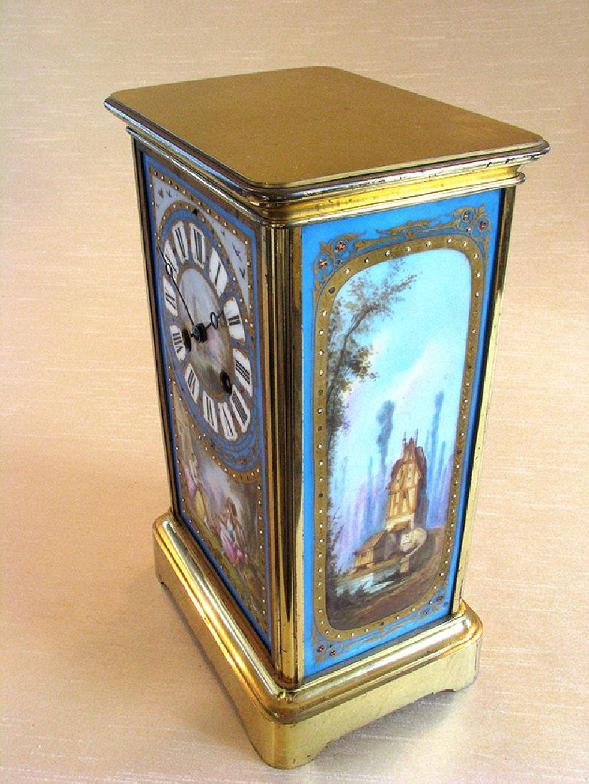 19th C. Brass and Sevres hand painted Porcelain clock - 9