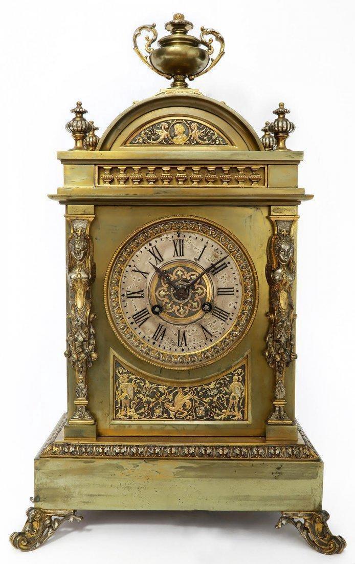 French Bronze Figural Mantle Clock Set - 2