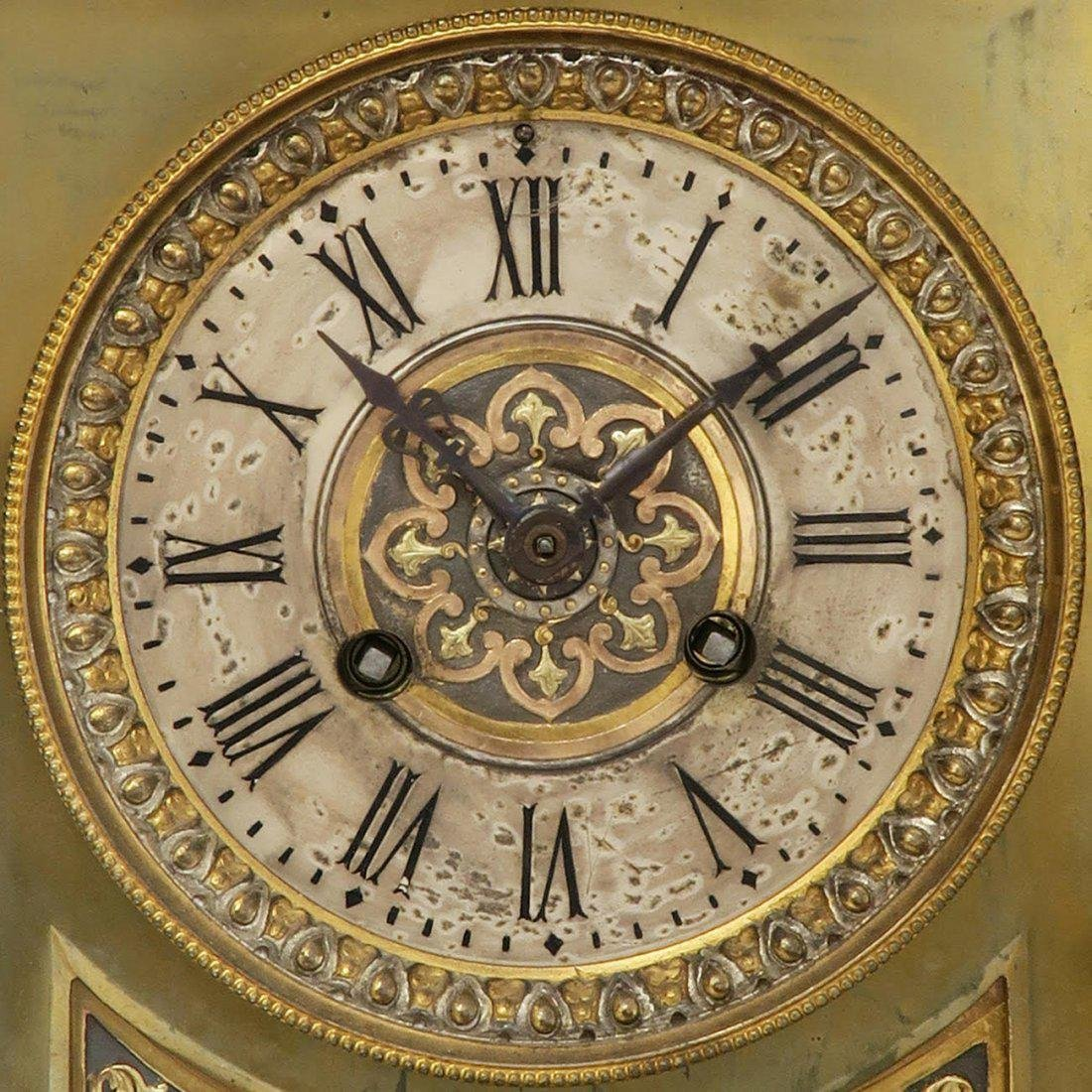 French Bronze Figural Mantle Clock Set - 3