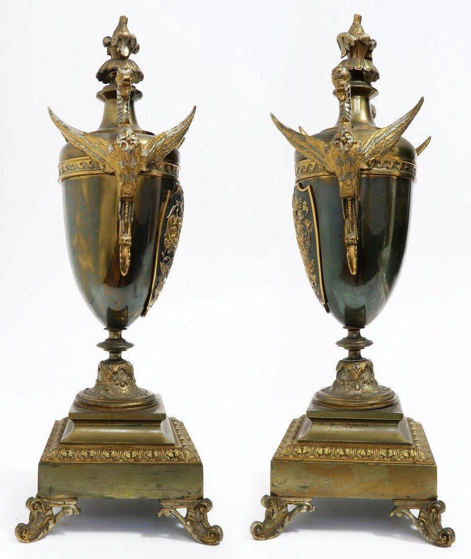 French Bronze Figural Mantle Clock Set - 9