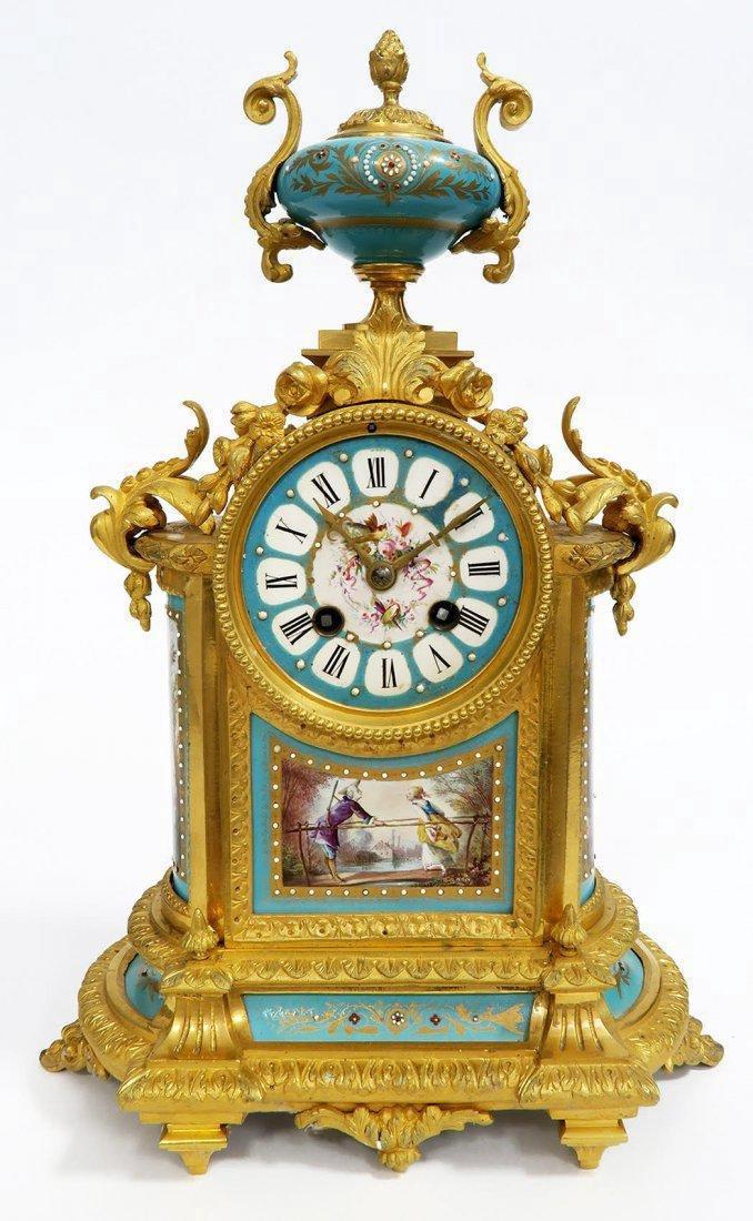French Bronze & Sevres Porcelain Clock Set. 19th C. - 2