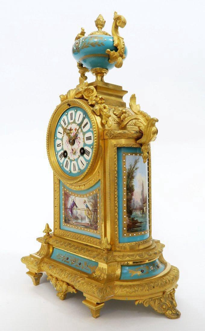 French Bronze & Sevres Porcelain Clock Set. 19th C. - 3