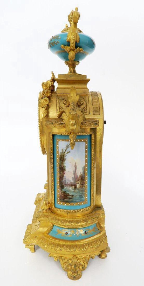 French Bronze & Sevres Porcelain Clock Set. 19th C. - 4
