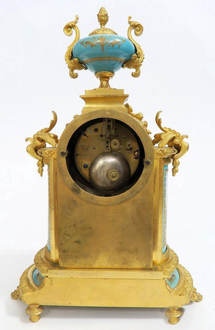 French Bronze & Sevres Porcelain Clock Set. 19th C. - 5