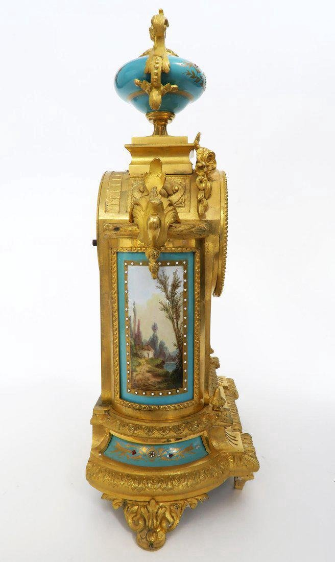 French Bronze & Sevres Porcelain Clock Set. 19th C. - 6