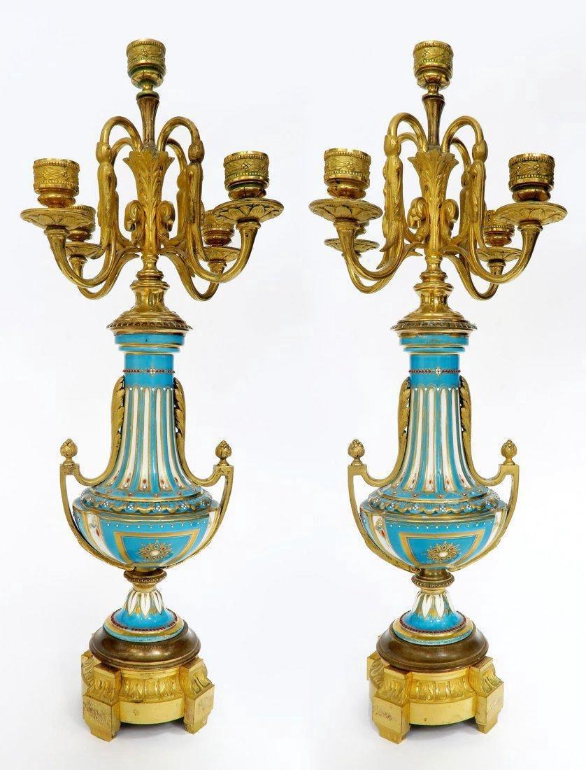 French Bronze & Sevres Porcelain Clock Set. 19th C. - 7