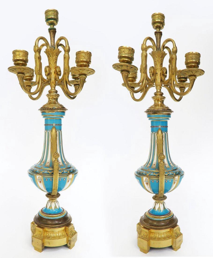 French Bronze & Sevres Porcelain Clock Set. 19th C. - 8