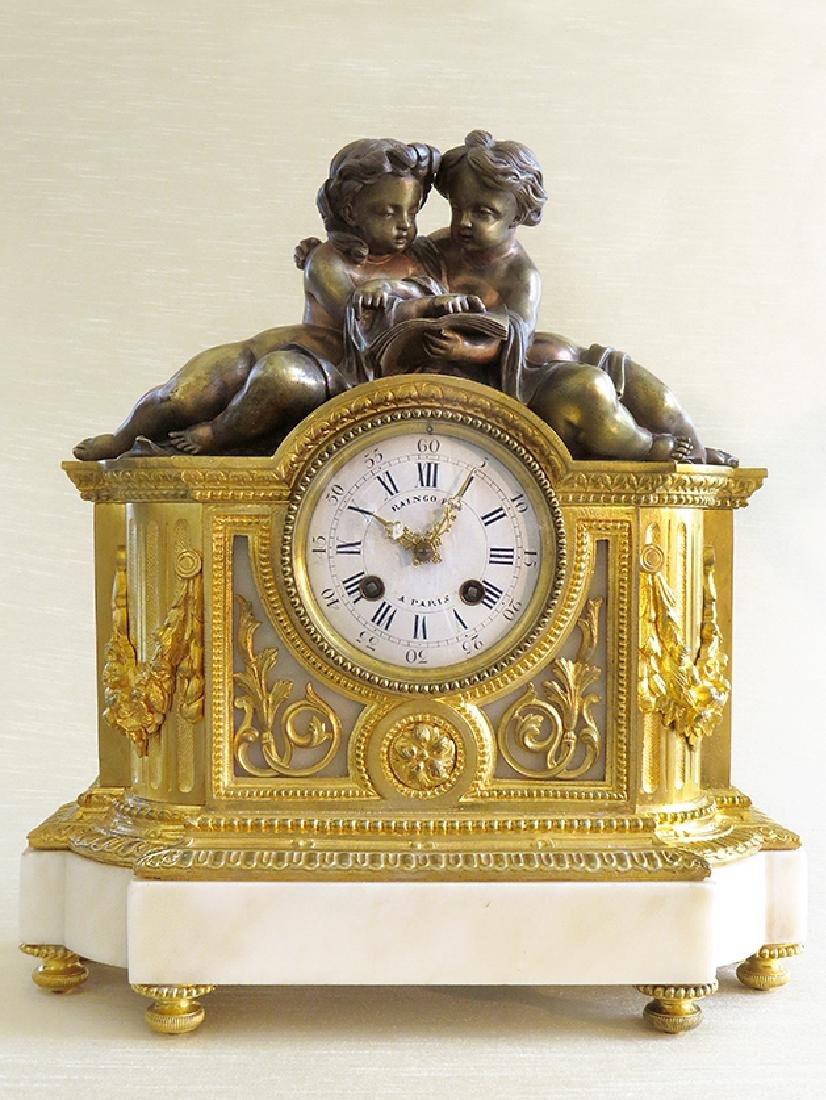 19th C French Gilt Ormolu Mantle Clock by Raingo Freres