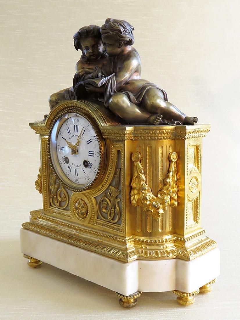 19th C French Gilt Ormolu Mantle Clock by Raingo Freres - 2