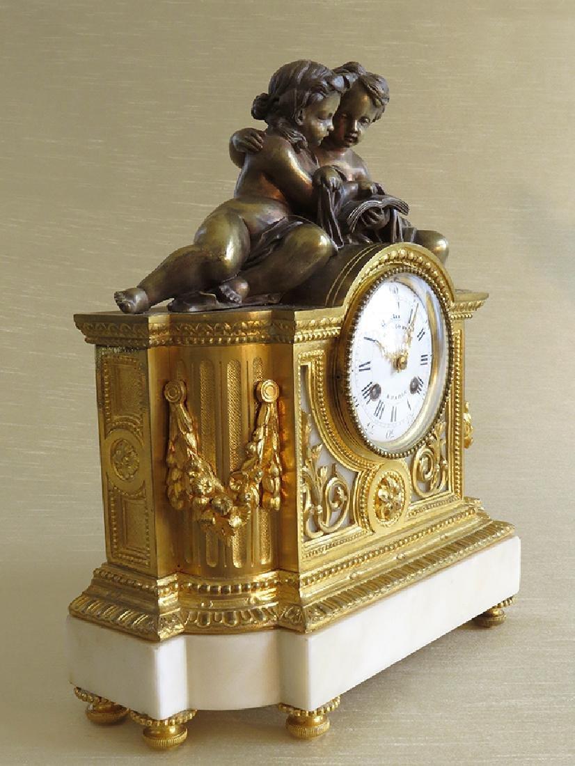 19th C French Gilt Ormolu Mantle Clock by Raingo Freres - 3