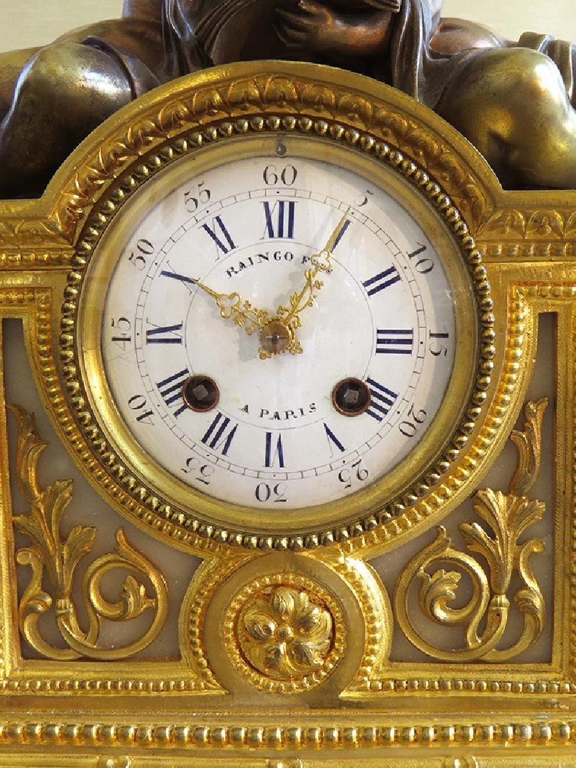 19th C French Gilt Ormolu Mantle Clock by Raingo Freres - 4