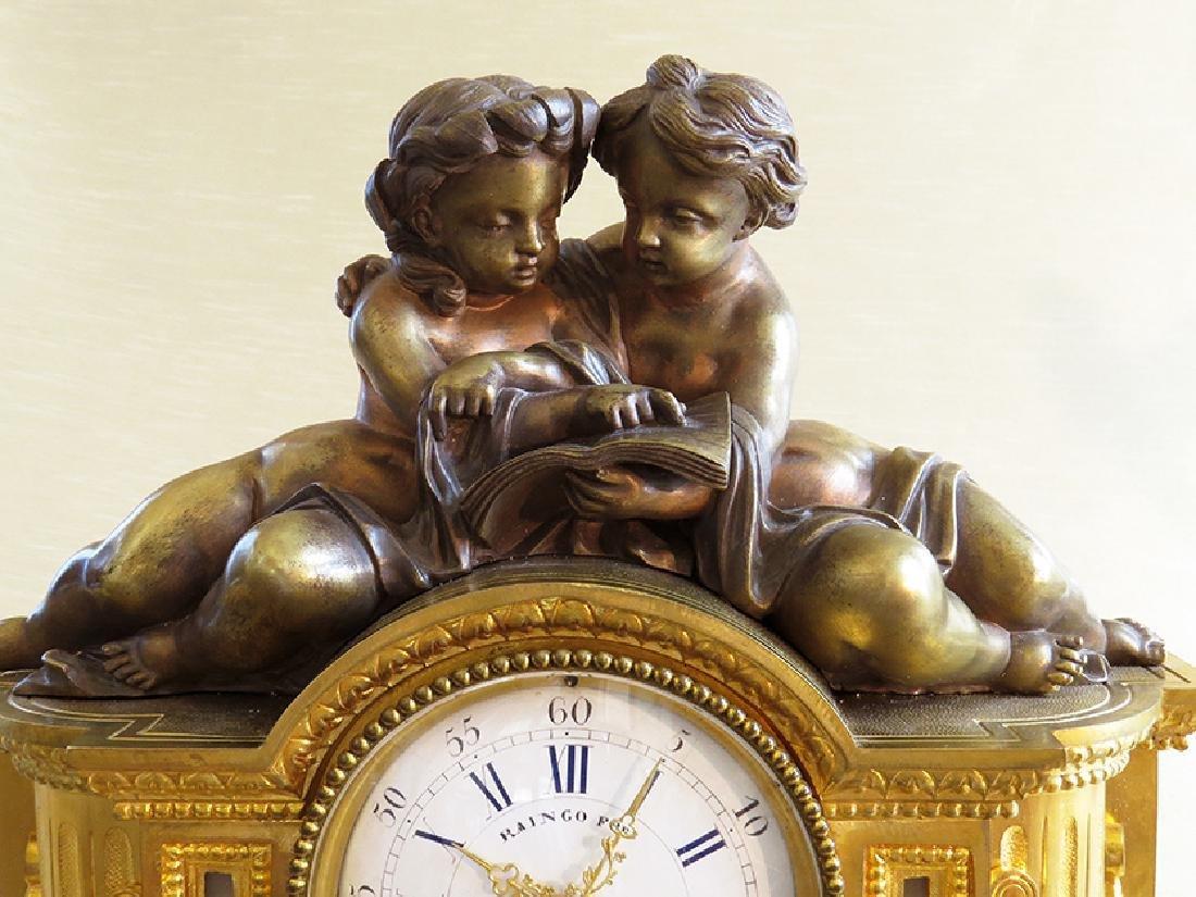 19th C French Gilt Ormolu Mantle Clock by Raingo Freres - 7