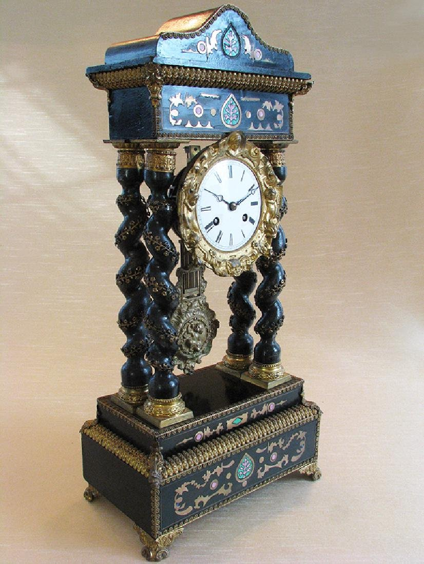 Rare 19th C. Japy French Inlaid Portico Mantel Clock - 2