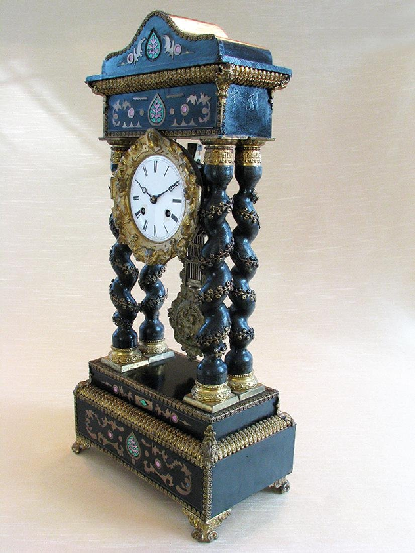 Rare 19th C. Japy French Inlaid Portico Mantel Clock - 3
