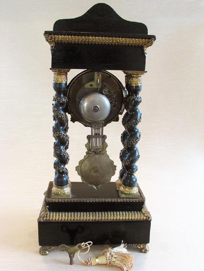 Rare 19th C. Japy French Inlaid Portico Mantel Clock - 4