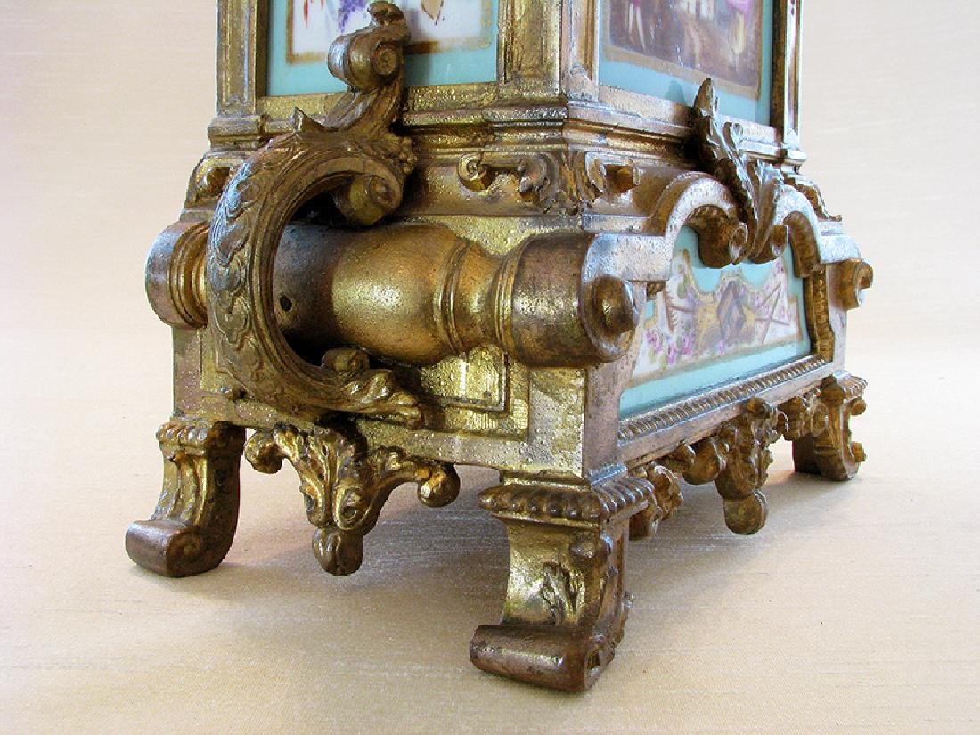 Turquoise Blue Hand Painted Sevres & Bronze Clock - 10