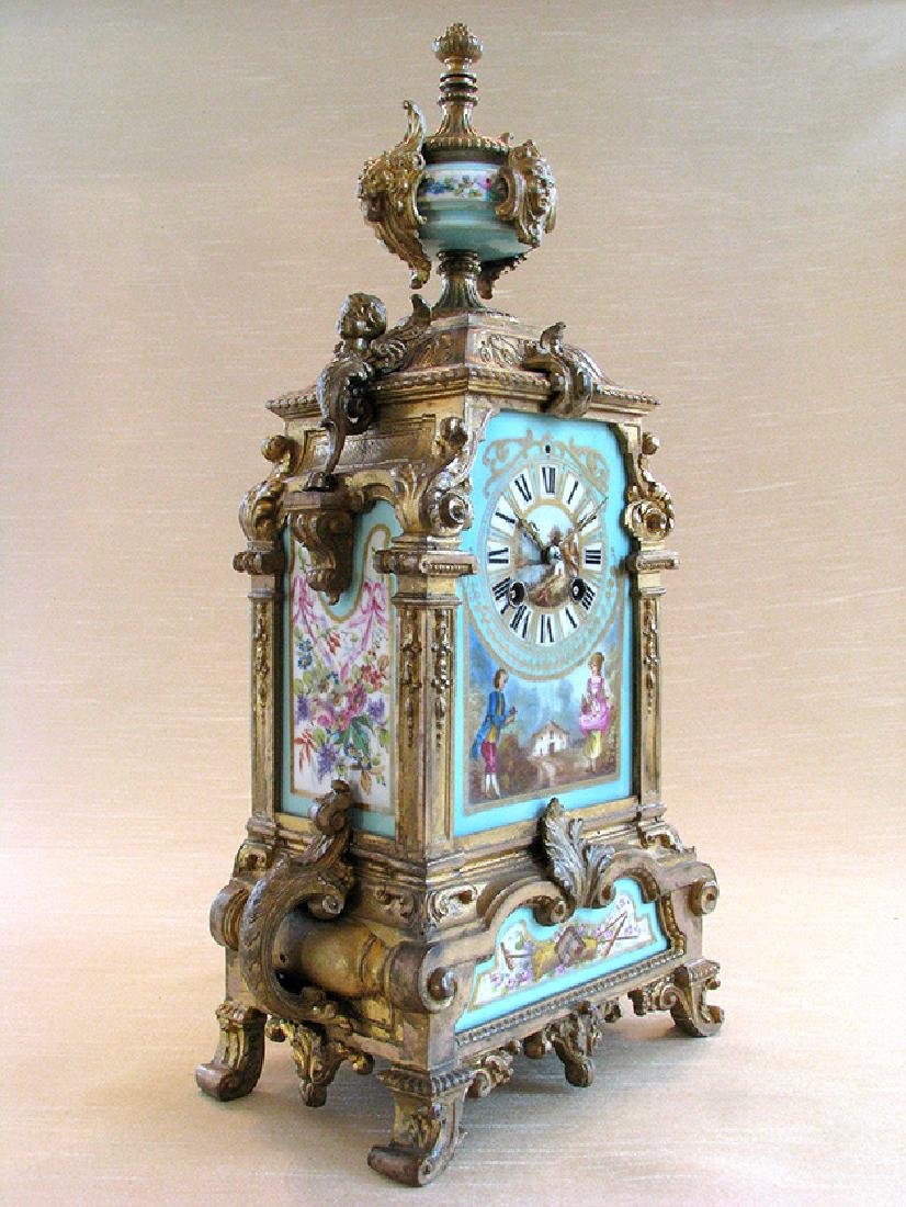 Turquoise Blue Hand Painted Sevres & Bronze Clock - 2