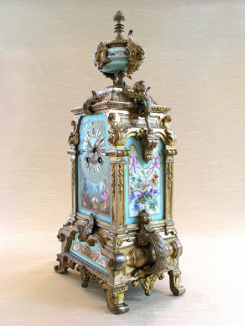 Turquoise Blue Hand Painted Sevres & Bronze Clock - 3