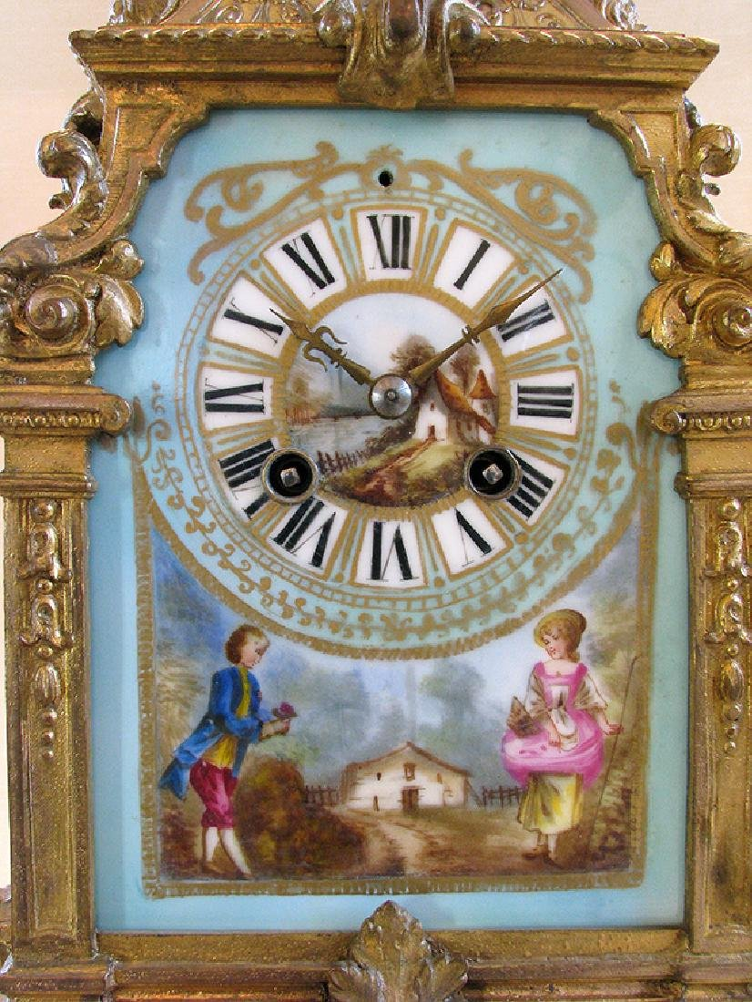 Turquoise Blue Hand Painted Sevres & Bronze Clock - 4