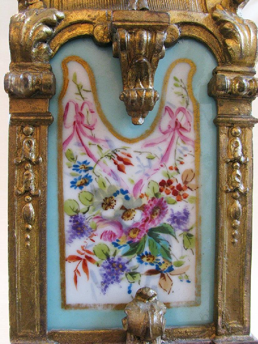 Turquoise Blue Hand Painted Sevres & Bronze Clock - 5