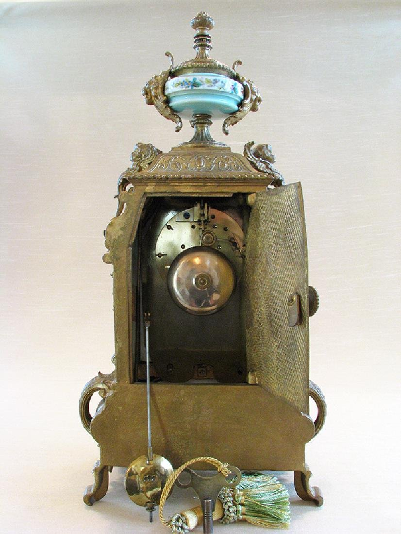 Turquoise Blue Hand Painted Sevres & Bronze Clock - 6