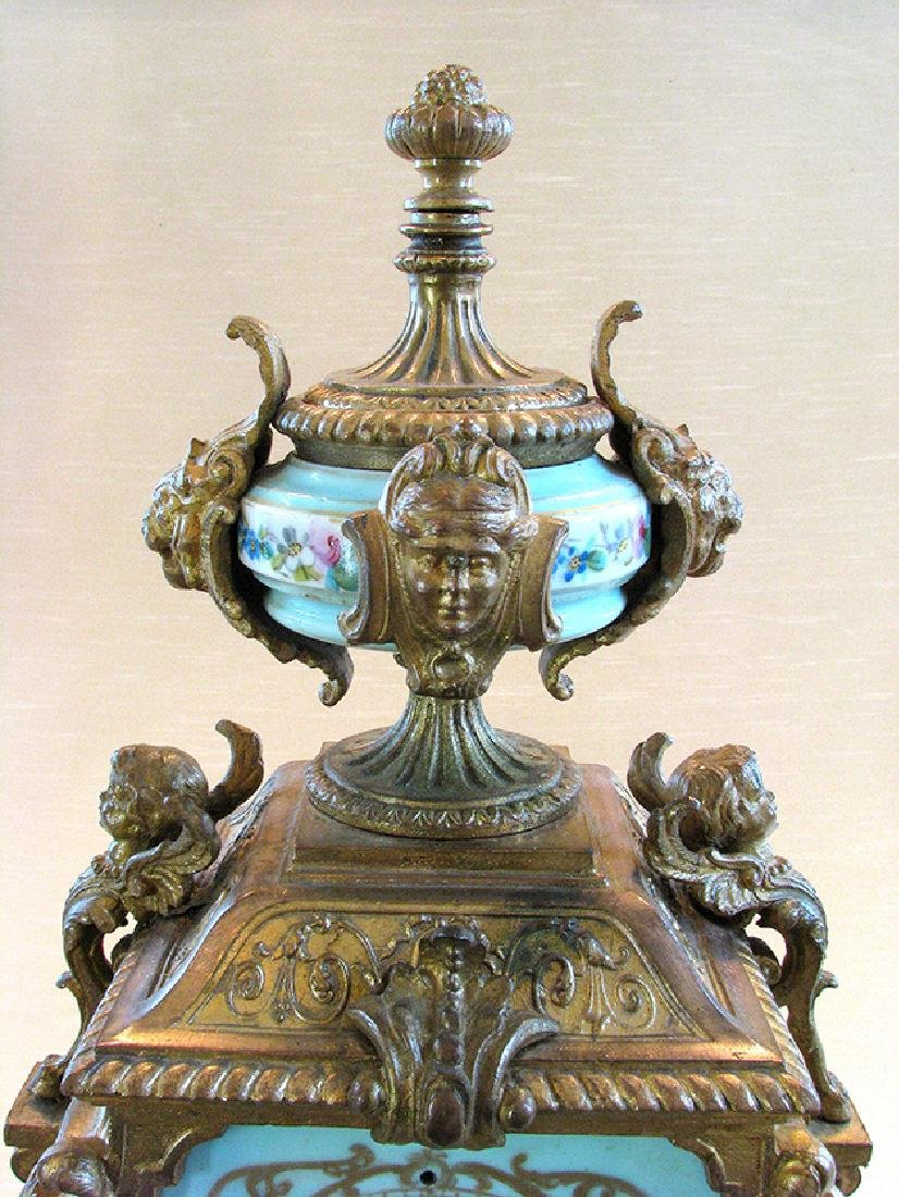 Turquoise Blue Hand Painted Sevres & Bronze Clock - 7
