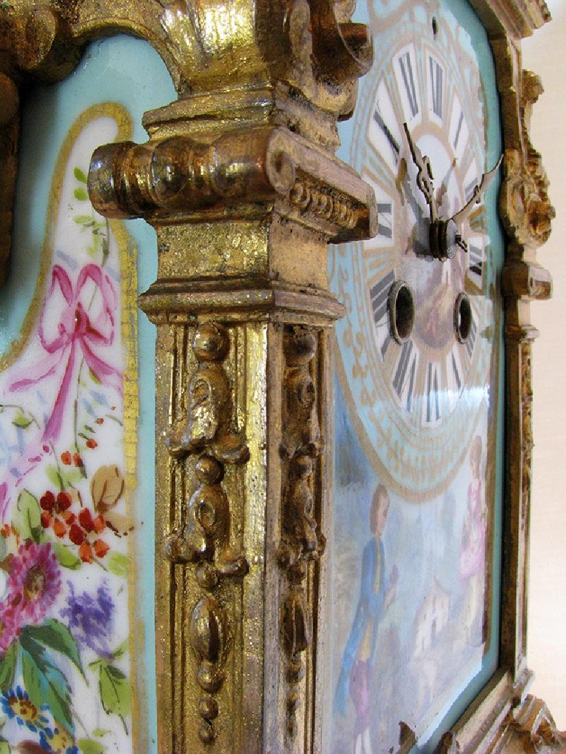 Turquoise Blue Hand Painted Sevres & Bronze Clock - 9