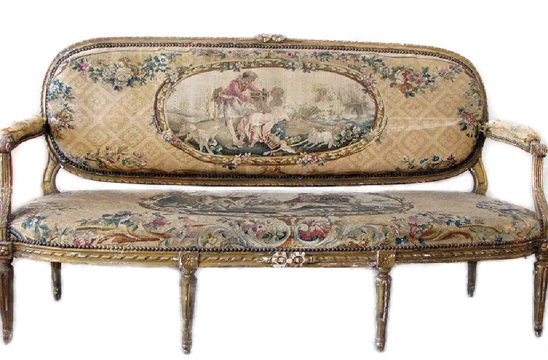 Antique French Louis XVI Gilt wood and Tapestry Settee