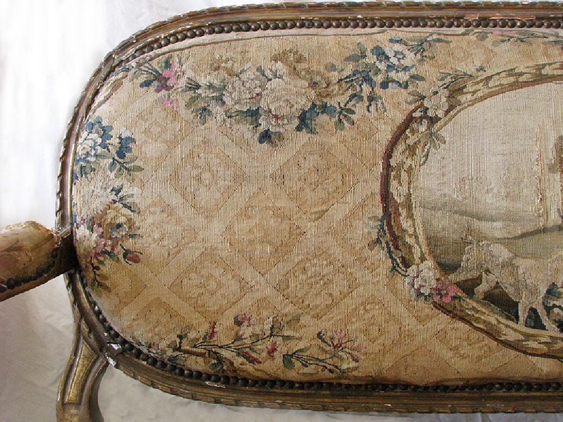 Antique French Louis XVI Gilt wood and Tapestry Settee - 4