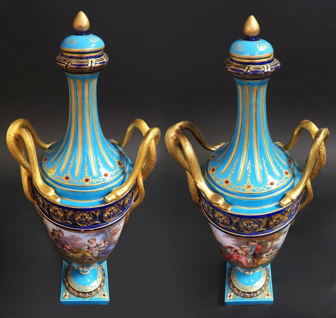 Large Pair of French Hand Painted Sevres Vases - 4