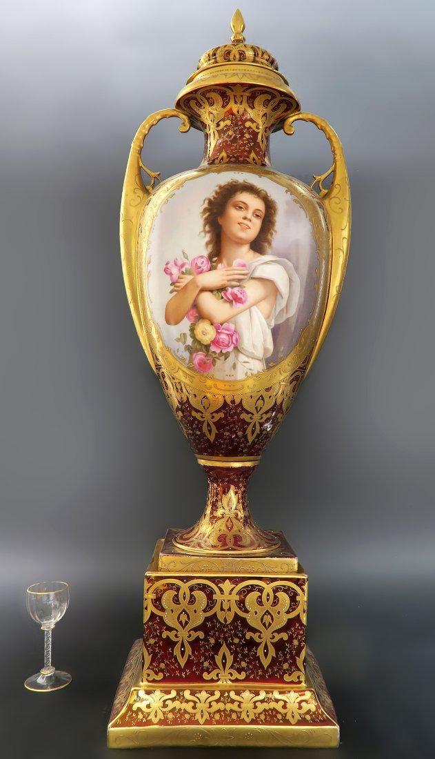 Monumental 19th C. Royal Vienna Hand Painted Vase 31''