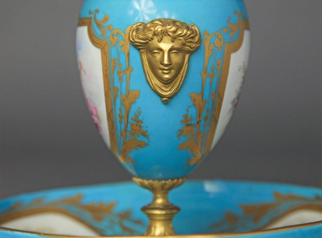 19th C. French Sevres Porcelain & Bronze Urn - 2