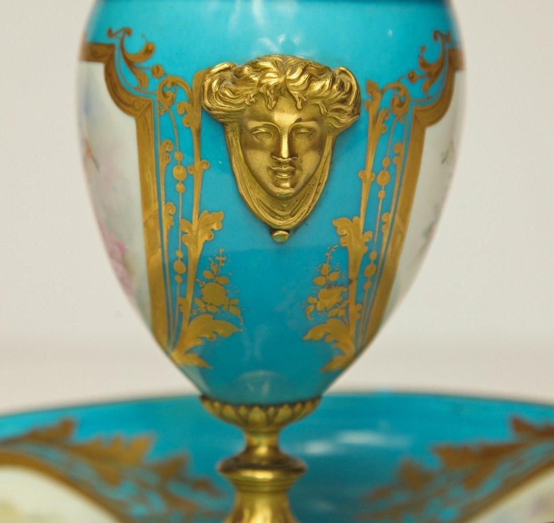 19th C. French Sevres Porcelain & Bronze Urn - 5