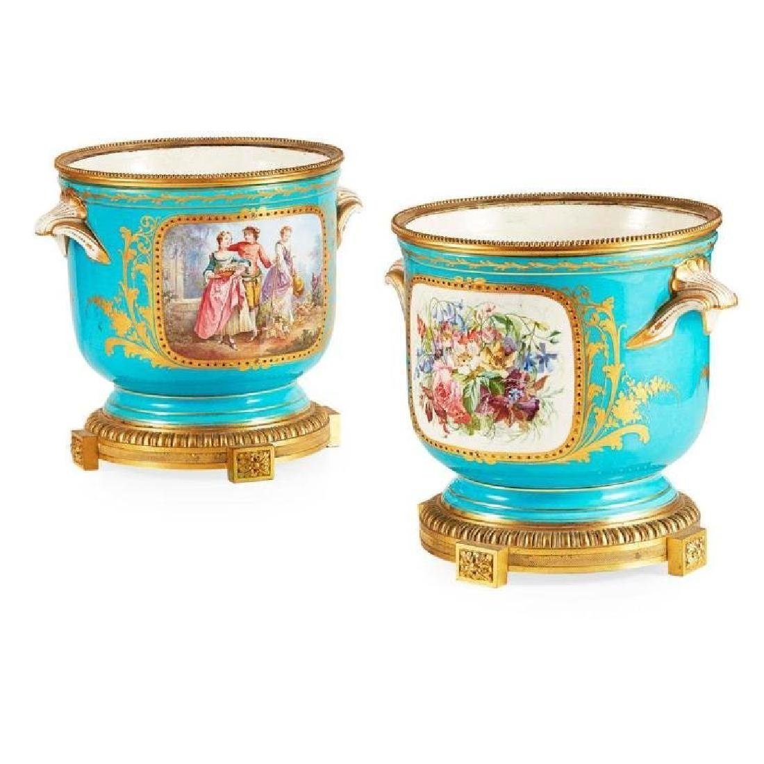 PAIR OF SEVRES STYLE PORCELAIN JARDINIERES 19TH CENTURY