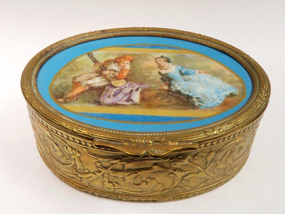 19th C French Bronze Hand Painted Sevres Jewelry Box