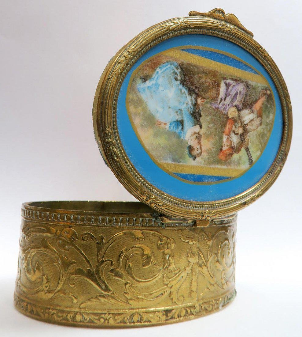 19th C French Bronze Hand Painted Sevres Jewelry Box - 2