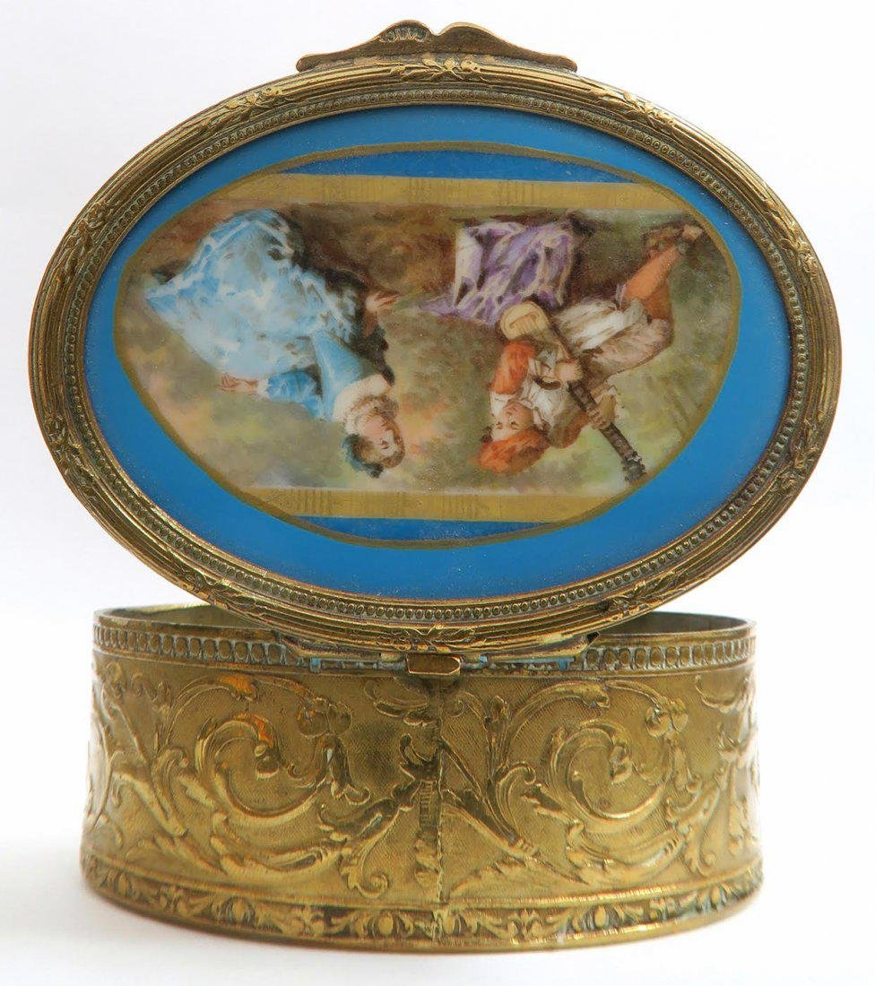 19th C French Bronze Hand Painted Sevres Jewelry Box - 3
