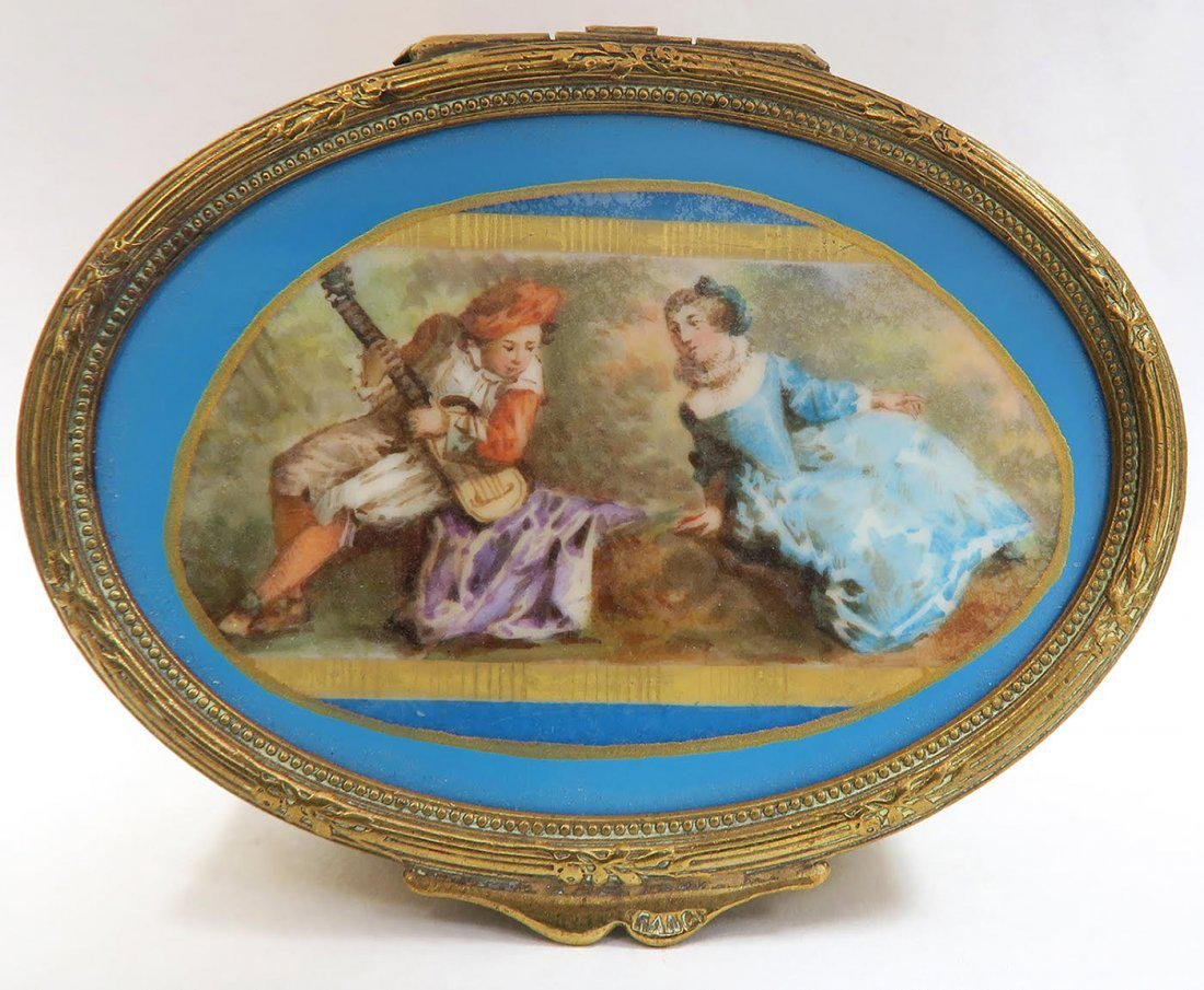 19th C French Bronze Hand Painted Sevres Jewelry Box - 5